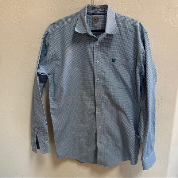 New Cinch Shirt Blue & White Button Down Medium